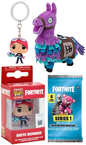 Fortnite Future Looks Bright Gamer Series Brite Bomber Mini Figure Backpack Hanger Pop! Keychain Bundled Trading Action Cards Pack & Purple Llama Plush Gear 3 Items