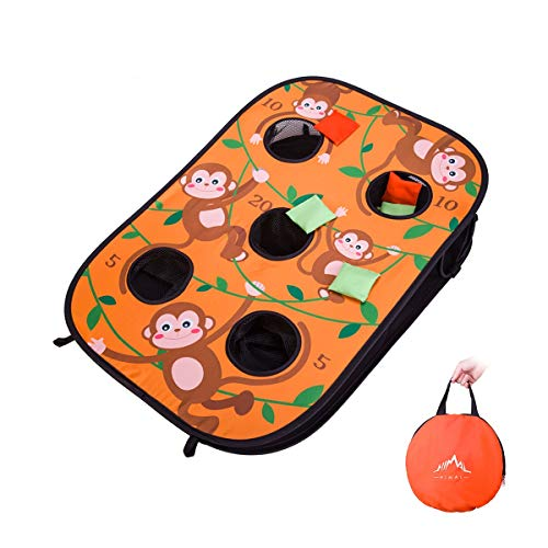 Himal Collapsible Portable 5 Holes Cornhole Game Cornhole Set Bounce Bean Bag Toss Game 10 Bean Bags,Tic Tac Toe Game Double Games (3 x 2-Feet, Single Board) (Orange)]()