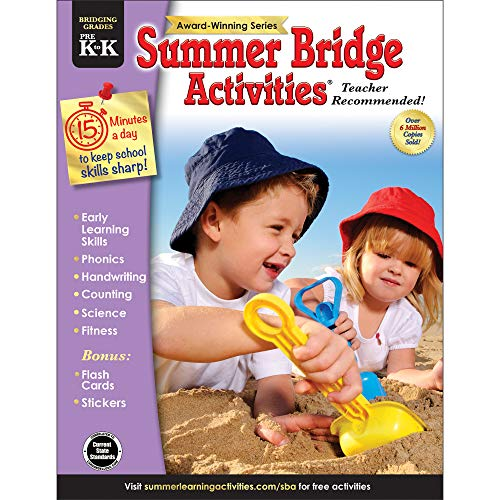 Summer Bridge Activities - Grades PreK - K, Workbook for Summer Learning Loss, Math, Phonics, Writing, Colors with Flash Cards and Stickers -