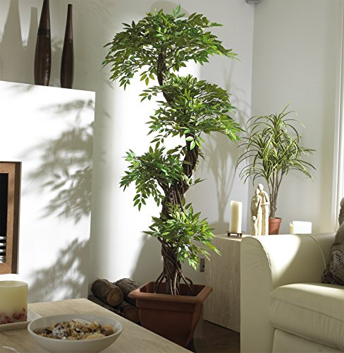 Chic Oriental Indoor / Outdoor Quality Faux Japanese Spiral Tree, Artificial Plants and Trees, Handmade Using Real Bark & Synthetic Leaves - Approx. 162cm Tall by Vogue Plants