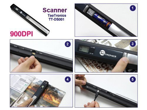 TaoTronics Handheld Mobile Document Portable Scanner 900DPI Color & Mono (For Business, Photo, Picture, Receipts, Books, JPG / PDF Format Selection, Micro SD Card required but not included)