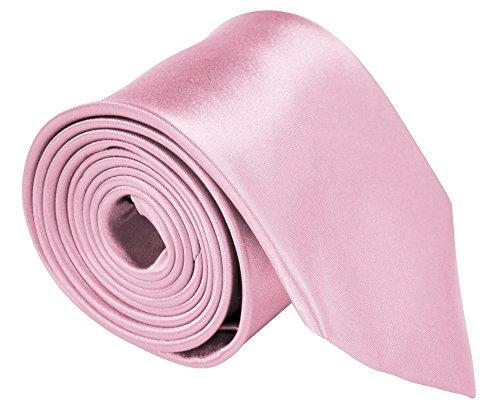 "Moda Di Raza - Necktie For Men 3.5"" Width - Satin Finish Polyester Solid Color Neck Tie - Pink (Necktie Pink Silk)"