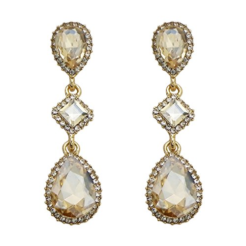 Rosemarie Collections Women's Fashion Jewelry Crystal Teardrop Dangle Earrings (Gold and Light Topaz)