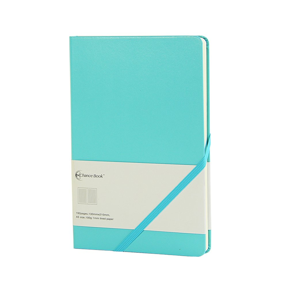Labon's 5.25 x 8.25 Notebook Hardcover Bright Coloured Classic Diary Journal Elastic Slant Band Closure (Ruled, Dark Blue) labon' s