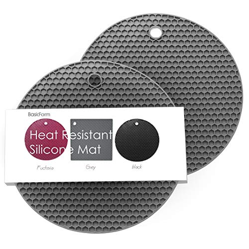 Round Silicone Trivet - BasicForm Silicone Trivet Round Honeycomb Pattern 7x7x0.31 Inches (Set of 2) (Gray)