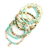 MYS Collection Women's Multi Strand Beaded Stackable Statement Bracelets - Layering Irregular Bead Stretch Wrap Bangles (Mint)