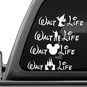 Walt life disney four pack of vinyl decals white vinyl car truck decal stickers