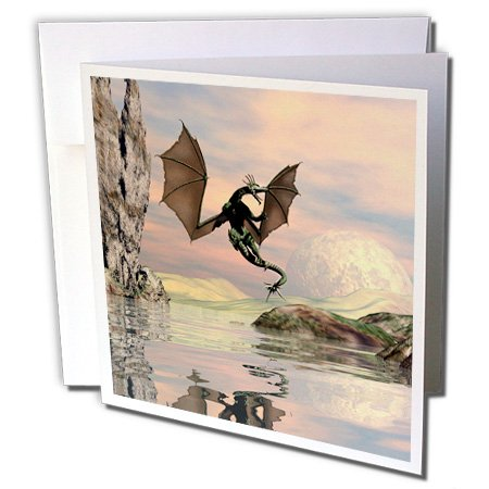 Heike Köhnen Design Fantasy - Awesome flying dragon with moon and ocean - 12 Greeting Cards with envelopes (gc_243068_2)