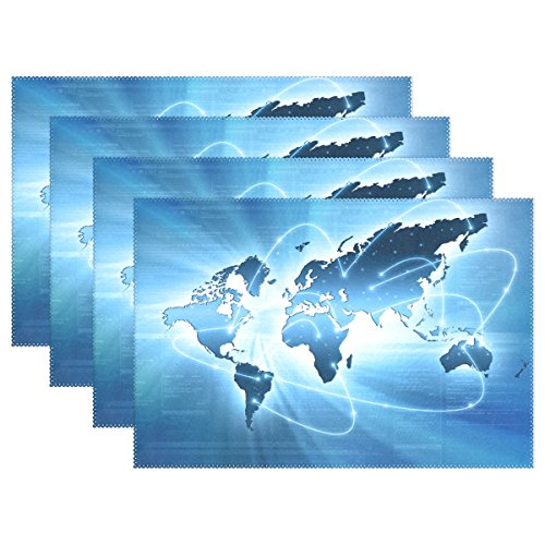 Stylish Internet Concept of Blue World Map Heat-resistant Table Placemats Set of 6 Stain Resistant Table Mats Washable Eat Mat for Parties Everyday & Holidays Use (Internet Map)