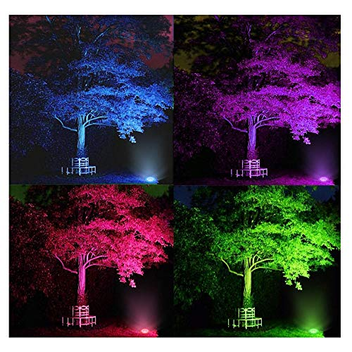 ZUCKEO 5W RGB LED Remote Control Landscape Lighting In-ground 12V 24V Low Voltage IP67 Waterproof Garden Light with Transformer, 16 Color-changing Outdoor Spotlights Decorative Pathway Lights (6 Pack) by ZUCKEO (Image #5)