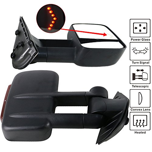 Towing Mirror Fits 2007-2014 Chevy Silverado Sierra | Towing Mirrors Power Heated Signal Arrow Light Set by IKON MOTORSPORTS | 2008 2009 2010 2011 2012 2013