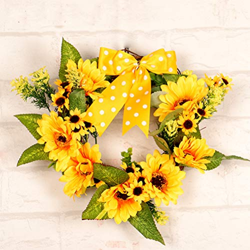 YJBear Artificial Yellow Sunflower Sash Fall Front Door Wreath Display Garland Handcrafted Round Halloween Christmas Thanksgiving Wreath for Farmhouse Home Decoration 11.8