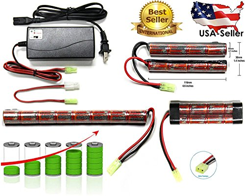 NiMH Airsoft AEG PEQ Charger or Battery Connector: Mini-tamiya Plug with 16 G wire (8 Cell Battery NiMH Stick 1600mah)