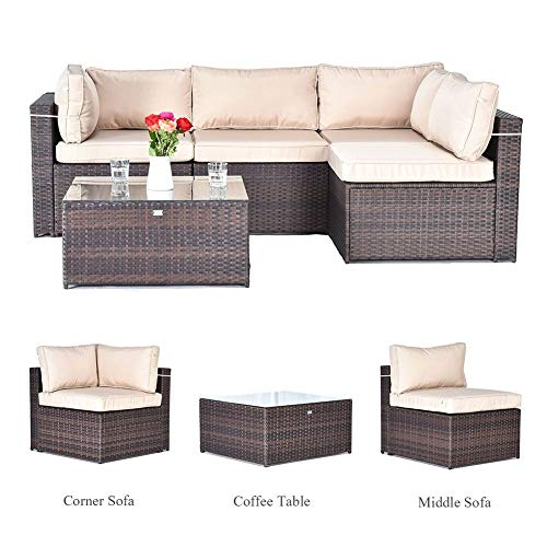 Gotland 5pcs Outdoor Rattan Sectional Sofa Patio Wicker Furniture Set(Brown),with Weather Resistant Tan Cushions & Tea ()