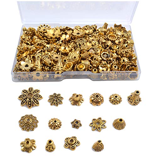 Gold Bead Caps - Jdesun 120g Bead Caps with A Clear Storage Box, Tibetan Gold Beads Spacers Jewelry Findings Accessories for Jewelry Making 300-350 Pieces