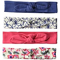 Touched by Nature Baby 4-Pack Organic Cotton Headbands, Flower, 0-24 Months