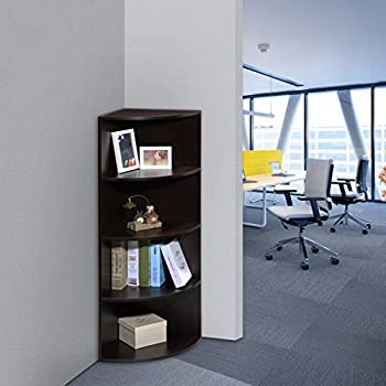 LANGRIA 5 Tier Corner Shelf Bookcase Mutipurpose Freestanding Modular  Shelving, Round End Shelves,