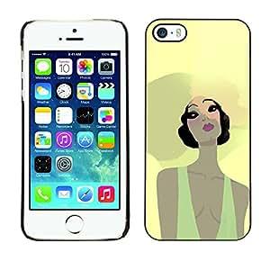 Shell-Star Arte & diseño plástico duro Fundas Cover Cubre Hard Case Cover para Apple iPhone 5 / iPhone 5S ( Beach Summer Girl Portrait Big Hat Yellow )