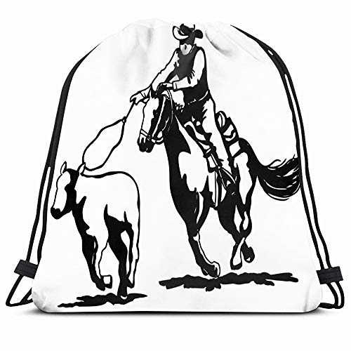 Ahawoso Drawstring Backpack String Bag 14X16 50S Rodeo Calf Animals Roping Clipart People Rope Sports Recreation Cowboy Horse Americana Black 1950S Retro Sport Gym Sackpack Hiking Yoga Travel Beach