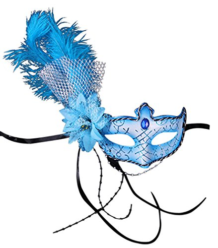 Venice Halloween Costume Masquerade Masks Feather Flower Fascinator Half Face Mask(Blue) ()
