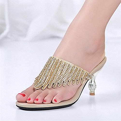 GTVERNH-Nuova Versione Coreana Sexy Intarsiata Medio Del Tallone E Forte Pantofole Dolce L'Esercitazione E Le Pantofole Trentaquattro Golden