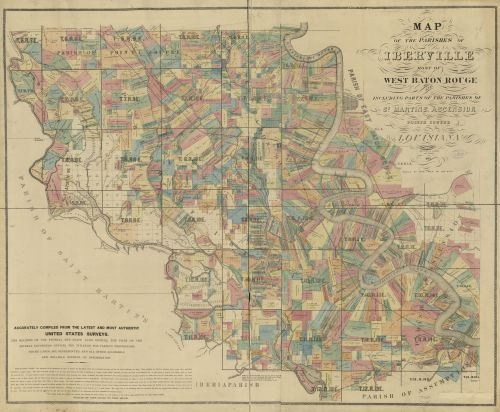 1883 Map of the parishes of Iberville most of West Baton Rouge and including parts of the parishes of St. Martins, Ascension, and Pointe Coupee, Louisiana : accurately compiled from latest and most au