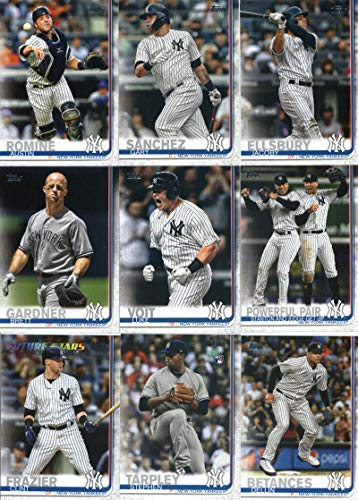 - 2019 Topps Complete (Series 1 & 2) Baseball New York Yankees Team Set of 30 Cards: Gleyber Torres(#7), The Yankees Win(#14), Chad Green(#25), Yankee Stadium(#47), Chance Adams(#98), Aroldis Chapman(#99), Miguel Andujar(#132), Aaron Judge(#150), Didi Gregorius(#215), Luis Severino(#221), Jonathan Loaisiga(#243), Aaron Hicks(#260), Always Sonny(#263), Sonny Gray(#285), Justus Sheffield(#306), Gary Sanchez(#353), Jacoby Ellsbury(#370), plus more