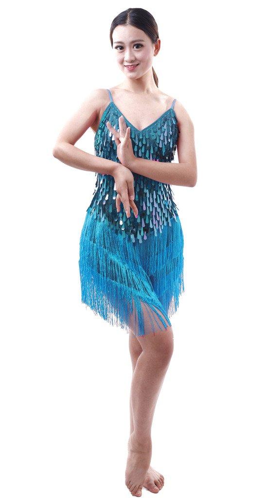 Astage Damen Jahrgang Pailletten Fringe Sway Flapper Halter Dress Quasten Party Kleid