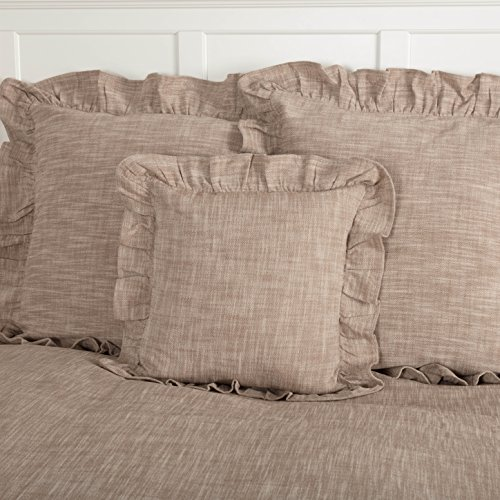 Beige Creme - Piper Classics Ashley Taupe Ruffled Pillow Cover, 18x18, Farmhouse Style Dark Beige Throw Pillow Cover