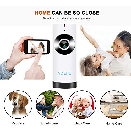 E.I.H. Panoramic Mini Baby Monitor ACEHE Wireless Camera Panoramic Mini Baby Monitor 720P HD Surveillance IP/Network/WiFi Security Camera with Night Vision by E.I.H. (Image #2)