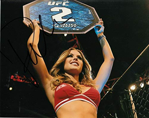 (BRITTNEY PALMER signed (UFC) Sexy Hot Ringcard Girl 8X10 photo *PROOF* W/COA #2 - Autographed UFC Photos)