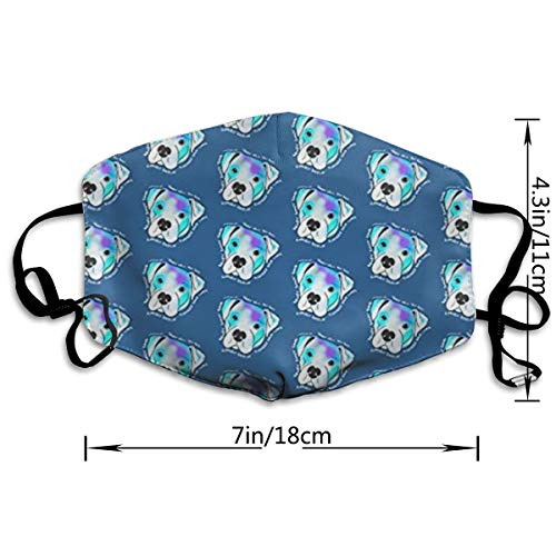 NOT Fashion Blue Pitbull PM2.5 Mask, Adjustable Warm Face Mask Unique Cover Filters Blocking Pollen Pollution Germs,Can Be Washed Reusable Pollen Masks Cotton Mouth Mask for Men Women