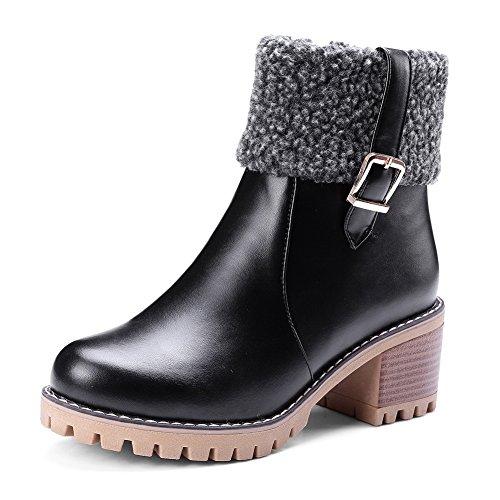 DKU01828 de AN los Piel Cierre Mujer cálidas Impermeables para con Negro los de Dedos pies en Botas Suave Fq16qdwU4