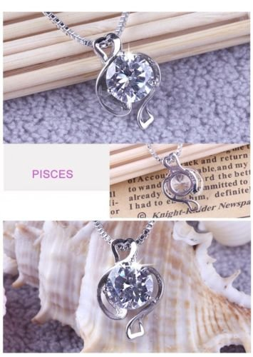 TenDollar Silver Plated Distinct 12 Constellations Shining Crystal Pendant Fine Necklace By TenDollar (Pisces)