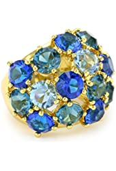 "Trina Turk ""Blues and Golds"" Jewel Encrusted Ring, Size 7"