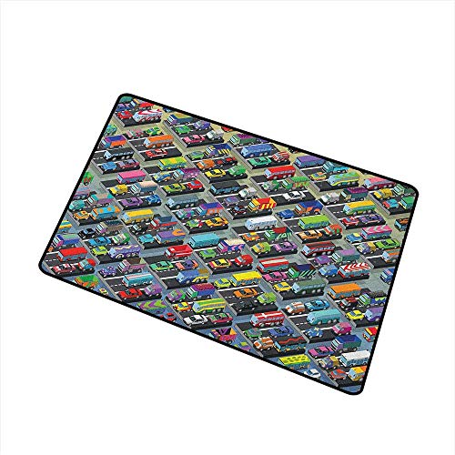 Wang Hai Chuan Cars Universal Door mat Detailed Collection of Various Vehicles Parked Cars Buses Trucks Vans in Many Colors Door mat Floor Decoration W19.7 x L31.5 Inch Multicolor