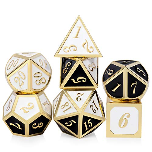 (Double Color DND Metal Dice Set, Heavy Polyhedral Dungeons and Dragons Playing Dice for Table Game(Black and White with Gold Number))