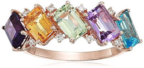 14k Gold Multi Gemstone Ring - EFFY Womens 14K Rose Gold Diamond, Amethyst, Pink Amethyst, Green Amethyst, Blue Topaz, Citrine Ring, Multi, 7