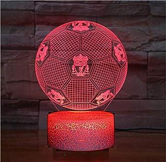Luz de noche de ilusión de fútbol 3d Liverpool Luz de ambiente inteligente de 7 colores base de grieta Lámpara de mesa LED Cumpleaños infantil Regalo de navidad Regalo de fanático del fútbol
