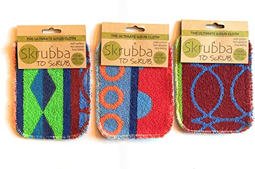 Wet-it Skrubba New European Scrubby Non-Scratching Scouring Pads (Set of 3, Stripe and Geometric Shapes)