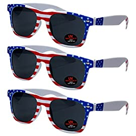 Sunglasses for Men, Women & Kids by Ray Solée- 3 Pack of Tinted Lenses with UVA & UVB Protection 96 3 PIECE PACK - This bulk pack of inexpensive shades comes with 3 American flag themed glasses great for summer time and parties all year round. UVA&UVB - Ray Solée glasses are ultraviolet tinted with anti-reflective UV 400 protection from the sun. MONEY BACK GUARANTEE- We are so sure that you will love our product that it comes with a 30 day Risk-Free 100% money-back-guarantee. If you are not fully satisfied with our product, let us know and receive a full refund.