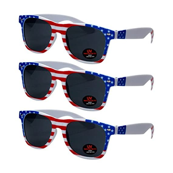 USA Merchant | Sunglasses for Men, Women & Kids by Ray Solée- 3 Pack of Tinted Lenses with UVA & UVB Protection 1 3 PIECE PACK - This bulk pack of inexpensive shades comes with 3 American flag themed glasses great for summer time and parties all year round. UVA&UVB - Ray Solée glasses are ultraviolet tinted with anti-reflective UV 400 protection from the sun. MONEY BACK GUARANTEE- We are so sure that you will love our product that it comes with a 30 day Risk-Free 100% money-back-guarantee. If you are not fully satisfied with our product, let us know and receive a full refund.