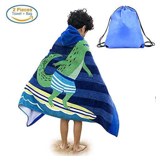 Kids Hooded Beach Bath Towel and Bag Set Large / Poncho Swim Beach Bath Towel Surfing Crocodile Pattern for Girls Boys 4-14 Years