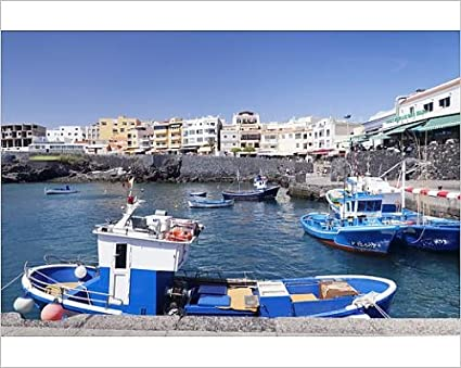 Robert Harding 10x8 Print of Fishing boats at the port, Los Abrigos, Tenerife,