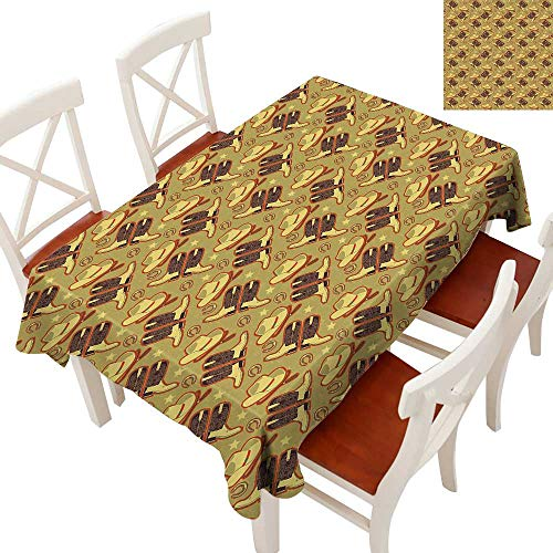 Western Tablecloth Heavy Weight Vintage Hat Boots Horse Shoes Retro Western Culture Worn Backdrop for Kitchen Dinning Tabletop Decoration Khaki Dark Brown Scarlet 60