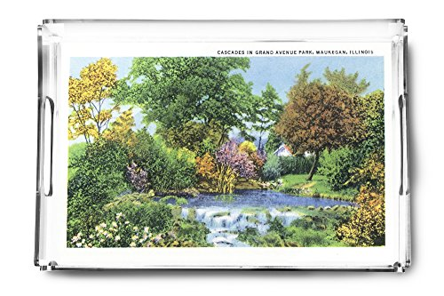 Waukegan, Illinois - Scenic View of the Cascades in Grand Avenue Park (Acrylic Serving Tray)