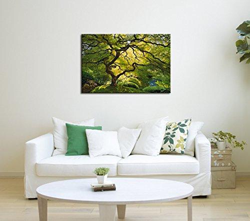 Startonight Wall Art Canvas Beautiful Green Maple, Nature USA Design for Home Decor, Dual View Surprise Artwork Modern Framed Ready to Hang Wall Art 23.62 X 35.43 Inch 100% Original Art Painting!