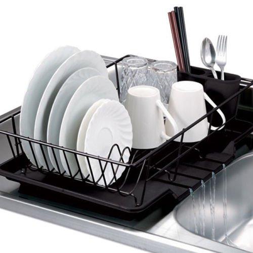 (Home Basics 3-Piece Kitchen Sink Dish Drainer Set Silver White Black Red)