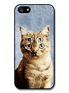 AWU DIYAMAF ? Accessories Funny Cute Cat With Four Eyes case for iphone 4s