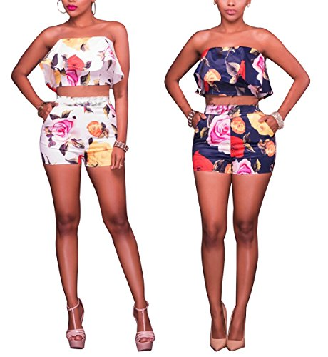 0e4c3ad084c Women Sexy Rompers Swimsuit V Neck Halter Sleeveless Backless Floral High  Waist Short Pants Swimwear